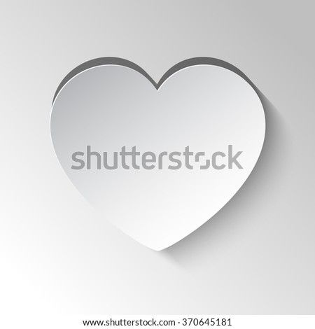 Paper heart cut from paper. Valentine's Day card. Vector background with heart. - stock vector
