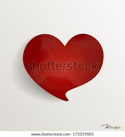 Paper heart shape symbol for Valentines day with copy space for text. Vector illustration.