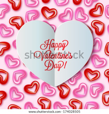 Paper heart Valentines day - stock vector