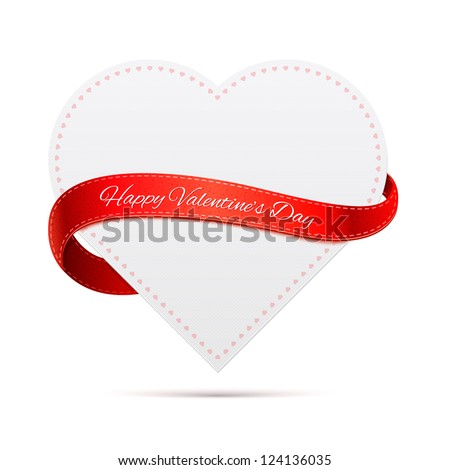 Paper heart with red ribbon and shadow. Valentine's day. - stock vector