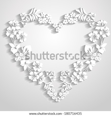 Paper heart with shadow Happy Valentines Day card. Trendy Design Template. vector illustration  - stock vector