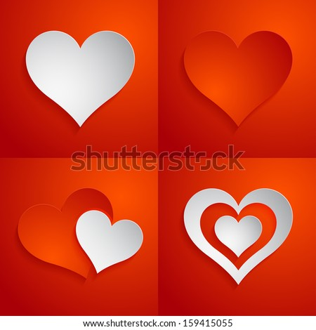 Paper hearts. Vector illustration - stock vector