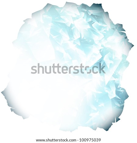 paper hole with glass or blue ice background, copyspace - stock vector