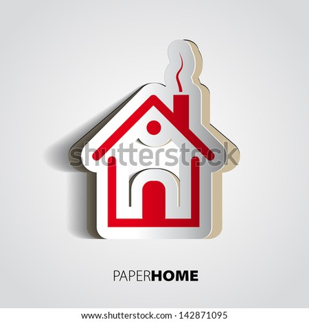 Paper home design - house card - stock vector