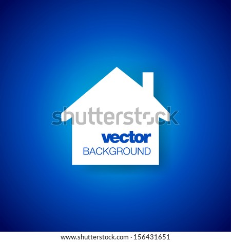 Paper house on blue background. Vector illustration with place for text. - stock vector