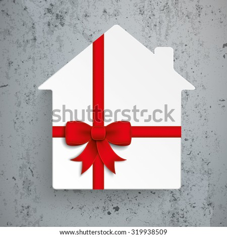 Paper house symbol with red ribbon on the concrete background. Eps 10 vector file. - stock vector