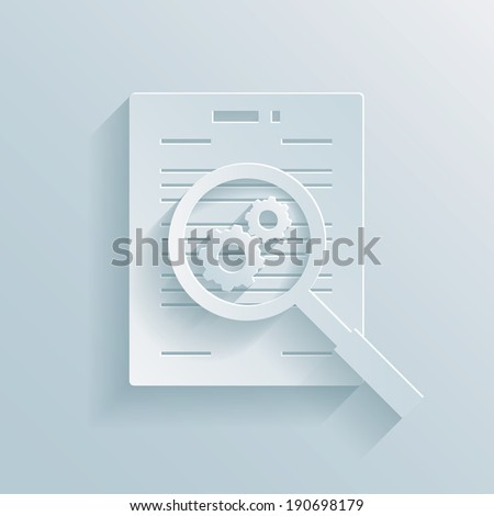 Paper icon depicting the preparation of a business contract with a magnifying glass with gear wheels hovering over a documents showing a work in progress - stock vector
