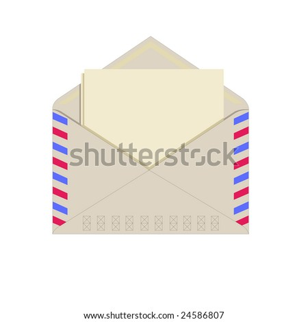 Paper in an envelope, blank paper for your own text, isolated on white - stock vector