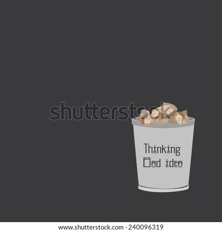 Paper in the bin(thinkking Bad idea) - stock vector