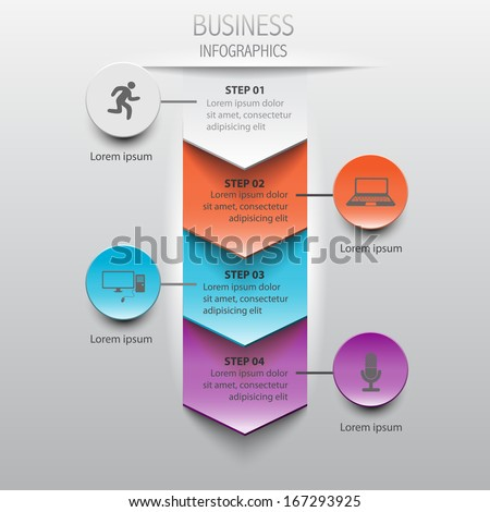 Paper infographics step by step / vector template - stock vector