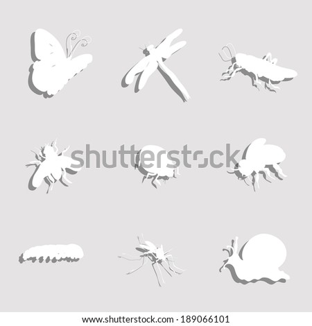 Paper Insects Set - stock vector