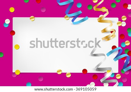 Paper invitation and confetti - party background with place for your text. Vector illustration. - stock vector