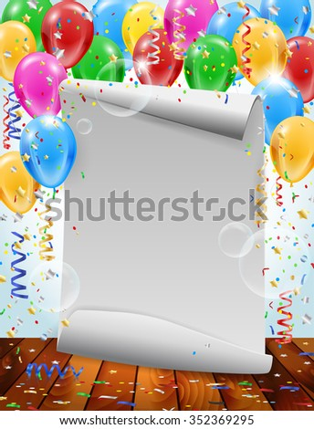 Paper invitation, inflatable balloons, flying bubbles and confetti - party background with place for your text. Vector illustration. - stock vector