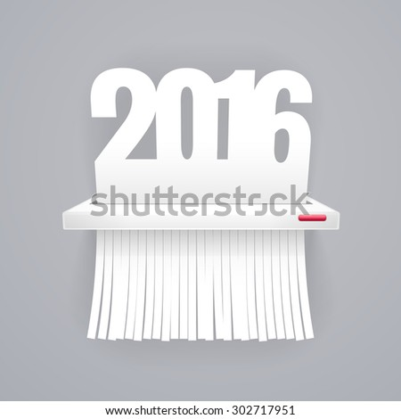 Paper 2016 is Cut into Shredder on Gray - stock vector