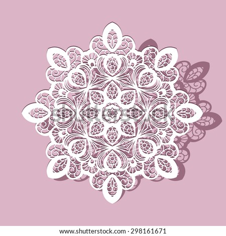 Paper lace doily, snowflake, mandala, cutout round ornament, lacy vector decoration - stock vector