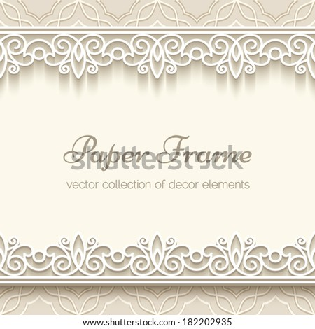 Paper lace frame with seamless borders over ornamental beige background, vector eps10 - stock vector
