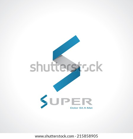 paper letter s  in the style of origami. template logo design. vector eps10 - stock vector