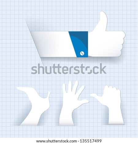 Paper like thumb up gesture and other paper cutted signs. Vector. - stock vector