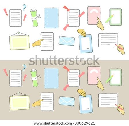 Paper list cartoon set, vector illustration. Isolated on white, isolated on gray, also looks good on any color background.