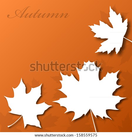 Paper look maple leafs on brown autumn background stock vector
