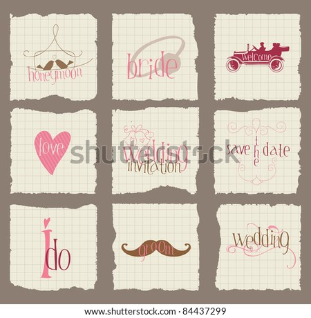 Paper Love and Wedding Design Elements -for invitation, scrapbook in vector - stock vector
