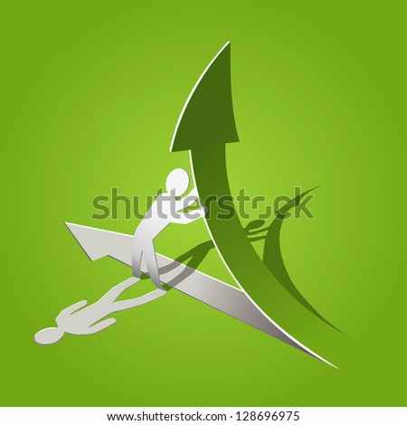 paper man with arrow - stock vector