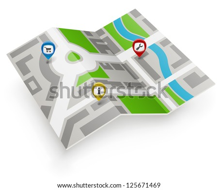 Paper map vector icon with color pointers. - stock vector