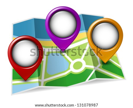 Paper map with map pointers. Vector illustration