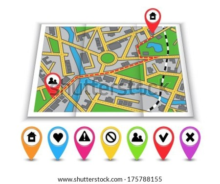 Paper maps, navigation icons and the distance marked in red - stock vector