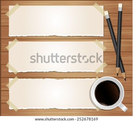 Paper message with pencil and coffee on wood background  - stock vector