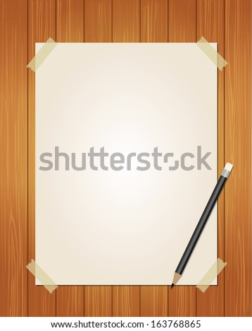 Paper message with pencil on wood background  - stock vector
