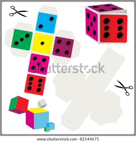 paper model of dices for cut out and assemble. vector illustration - stock vector