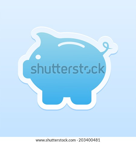 Paper moneybox in the form of pig on blue background, illustration. - stock vector