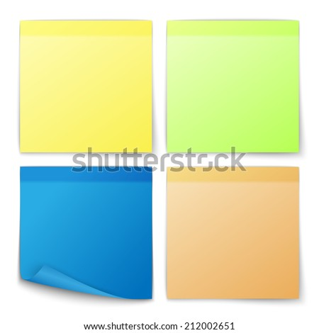 Paper note colored memo stickers set isolated vector illustration