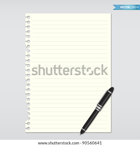 Paper note with pen - stock vector