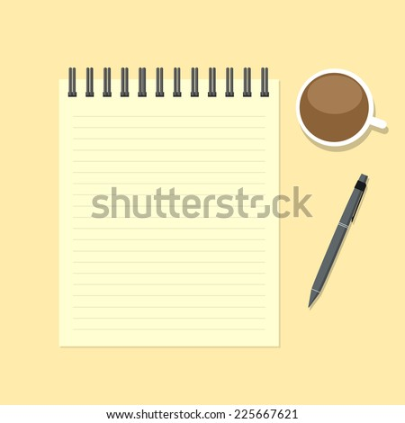 Paper note with pen and coffee cup - stock vector