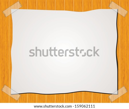 Paper note with sticky tape isolated on wood background - stock vector