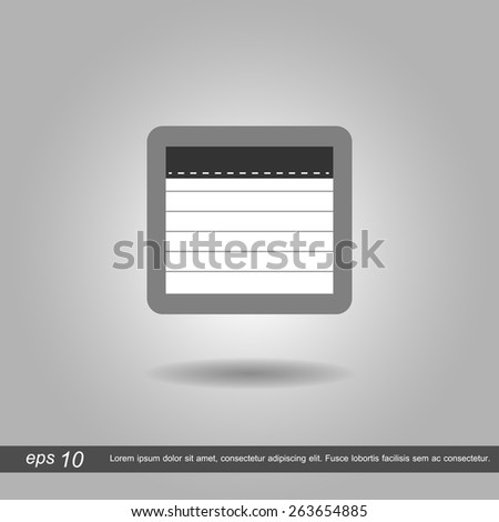 Paper notebook icon vector illustration eps10 on grey background