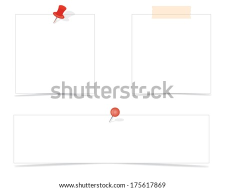 Paper notes and stickers. Illustration on white background - stock vector