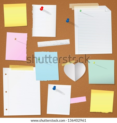 paper notes on cork board vector illustration - stock vector