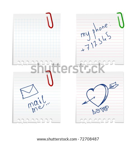 Paper notes set - stock vector