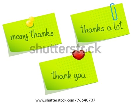 Paper notes with words and push pin. Vector - stock vector