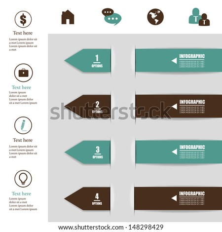 Paper Numbered Arrows Set - On Gray Background - Vector Illustration, Graphic Design Editable For Your Design. Modern Design Template Useful For Infographics - stock vector