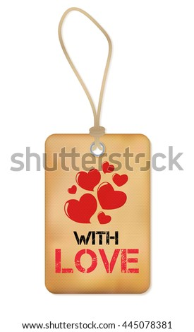Paper Old Label with Love and Heart Vector Illustration EPS10