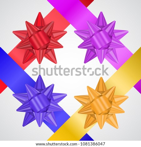 Paper Origami Bow Knot Ribbon Vector Stock Vector 1081386047