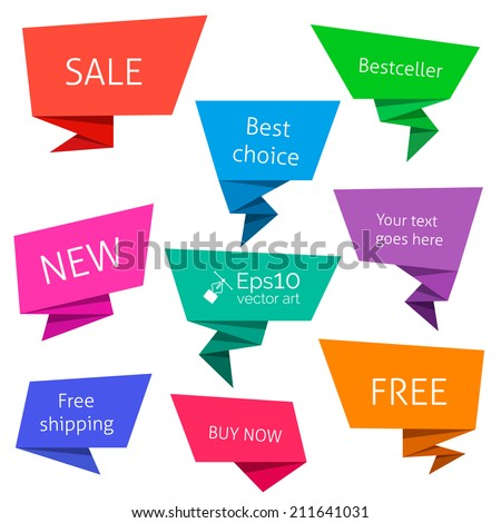 Paper origami bubbles. Set of color origami label. Collection of flat speech bubbles isolated on white with space for your text. Vector sticker, tag elements for your design.  - stock vector
