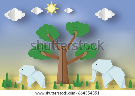 Paper Origami Concept Applique Scene With Cut Elephants Tree Clouds Sun
