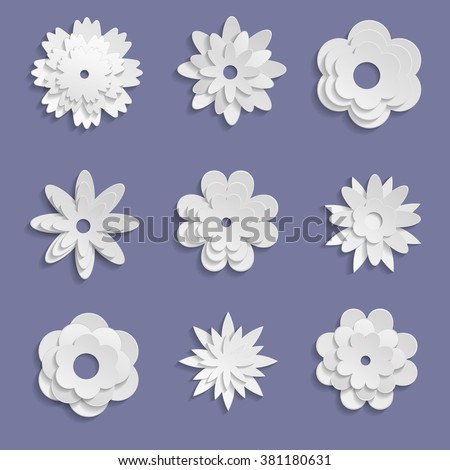 Paper origami flowers on violet background stock vector 381180631 paper origami flowers on violet background mightylinksfo