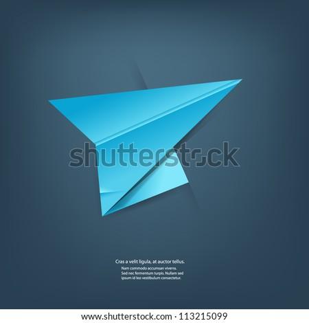 Paper origami plane. - stock vector