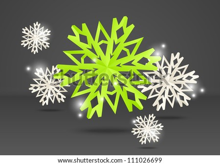 Paper origami snowflakes on grey background - stock vector